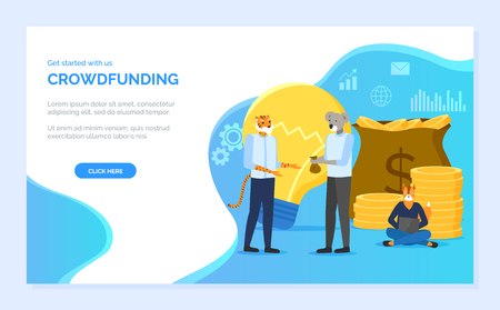Crowdfunding vector, koala hipster animals dealing with money in bags, coder with laptop, lightbulb creative idea for business development. Website or webpage template, landing page flat style