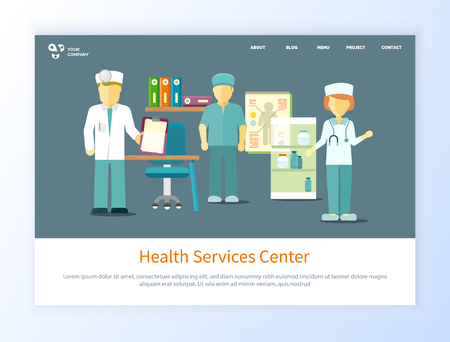Health service center vector, specialists wearing uniforms people working in office flat style. Medical workers with diagnosis conclusion illness. Website or webpage template, landing page flat style