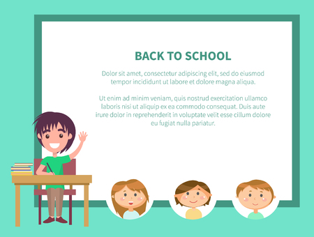 Back to school, classroom with kids vector. Poster with text, boys and girls studying together, classmates on lesson. Pupil sitting by desk with books Illustration