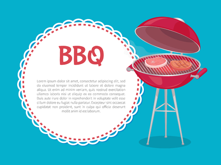 BBQ party mockup oven with steaks and text sample in round frame. Vector grilling machine with meat, pork on bone or beef sirloins, barbeque food on fire