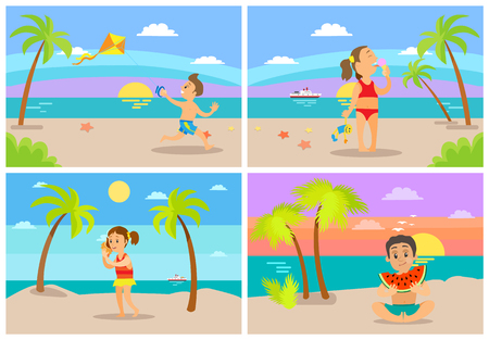 Children having fun by seaside vector, kids playing at beach. Boy eating watermelon sitting on sand, girl listening to seashell, child with kite, ice cream Illustration