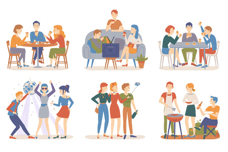 Friends activities vector, people sitting in bar, playing card games and watching tv at home, taking selfie and partying in club, barbeque weekend