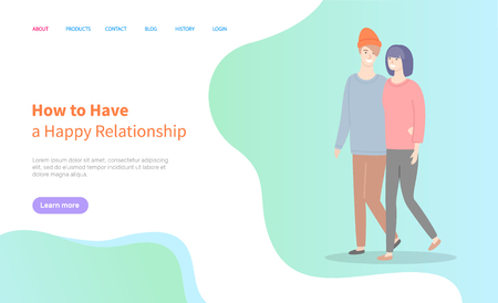 How to build happy relationships, man and woman walking vector couple. Girlfriend and boyfriend in casual cloth spend time together. Website or webpage template, landing page flat style