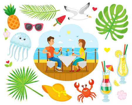 Couple eating near sea shore, summer vacation vector. Man and woman at table, gull and jellyfish, pineapple and cocktails, crab and straw hat, palm leaves Illustration