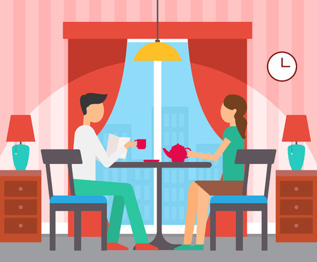Man and woman sitting at table, girl holding teapot, boy reading papers. Design interior of room, panoramic window, nightstands with lamps vector