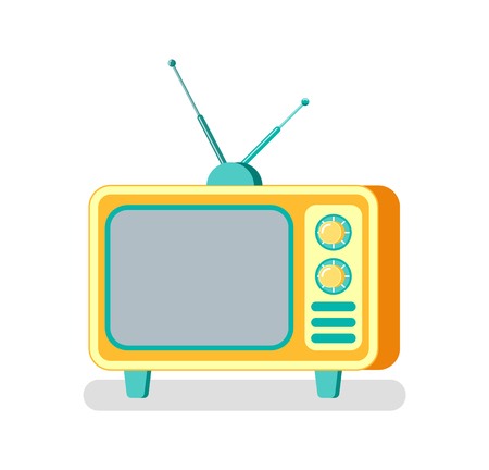 TV set with buttons vector, device for broadcasting and advertising of products. Mass media isolated icon, wide monitor and antenna on television box