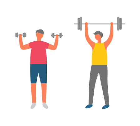 Bodybuilders doing exercises vector, people in gym flat style. Athletes, weightlifters with barbell and dumbbells, sport characters in sportswear