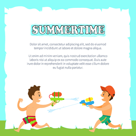 Children playing with water guns or pistols, summertime vector. Beach and outdoor activity, kids in swimming trunks, spraying water, summer childish games