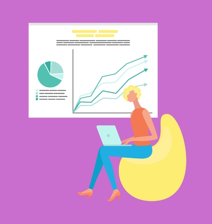 Woman sitting on chair with laptop, presentation with diagram and growth arrows on chart. Analytics and working strategy, worker using computer vector