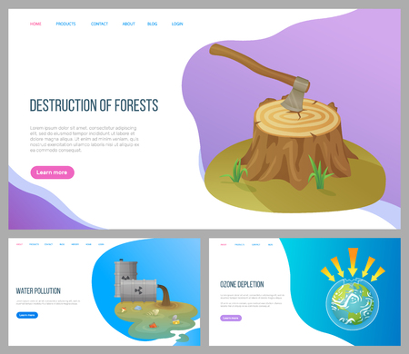 Destruction of forests vector, environmental problems water pollution with garbage, ozone depletion and issues attacking earth planet danger. Website or landing page flat style. Concept for Earth day