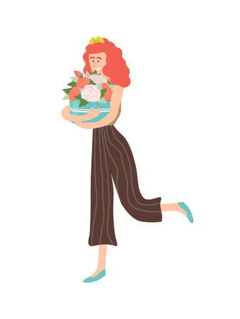 Roses placed in box vector, isolated woman cuddling present on international womens day. Beautiful female with flowers and foliage in round container