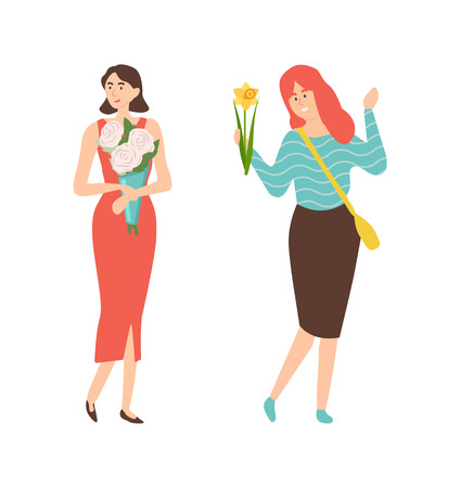 Elegant women with spring flower bouquets celebrate 8 March holiday. Vector female people with blooming gifts, gorgeous bunches flat style illustration Ilustração