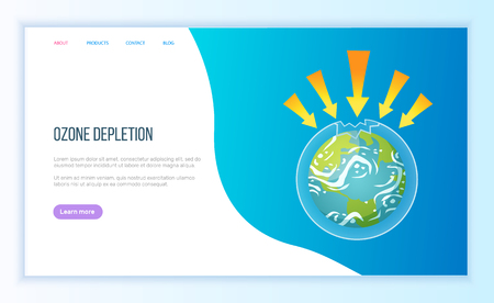 Ozone depletion, UV protection issue, arrows and earth, atmosphere pollutant, global problem, weather and hot climate, ecology and planet vector. Webpage landing page flat style. Concept for Earth day