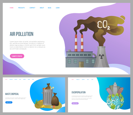 Air pollution vector, waste disposal and overpopulation, environmental problems on planet with skyscrapers and garbage in metal cans set. Website or landing page flat style. Concept for Earth day Ilustração