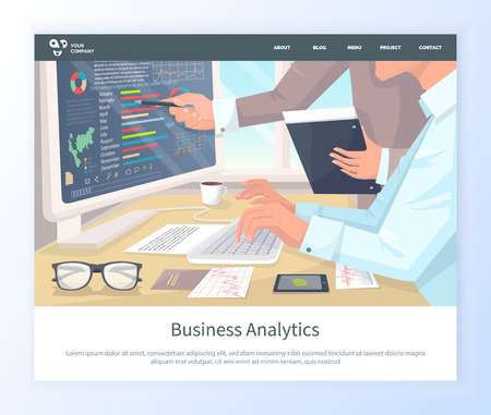 Laptop screen with information vector, woman working in office, workplace with coffee cup and papers, documents and glasses. Typing businesswoman website or webpage template, landing page flat style