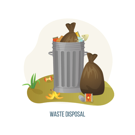 Waste disposal vector, dustbin with metal container filled with rubbish and litter, ecological disaster on planet Earth. Packages packs with garbage. Concept for Earth day Ilustracja