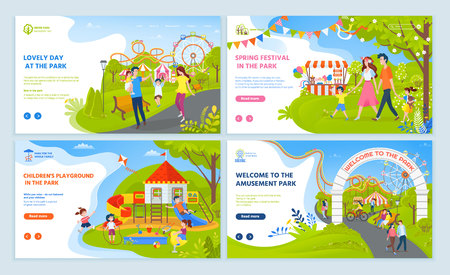 Lovely day and spring festival in amusement park, childrens playground, parents walking with boy and girl, ferris wheel and roller coaster vector. Website or webpage template, landing page flat style