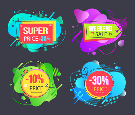 Super price sale set, weekend sale, 10, 30, 35 percent off offer, liquid geometrical abstract and vector shapes, discount offer price signs and tags