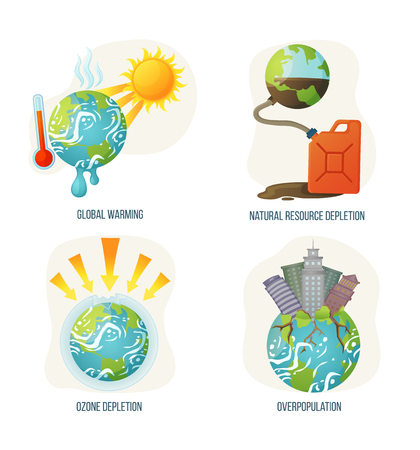 Global warming vector, ozone layer corruption, overpopulation planet with skyscrapers growing and rooting, natural resource depletion problems and issues. Concept for Earth day Ilustração
