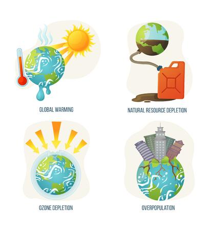 Vettore di riscaldamento globale, corruzione dello strato di ozono, sovrappopolazione del pianeta con grattacieli in crescita e radicamento, problemi e problemi di esaurimento delle risorse naturali. Concetto per la Giornata della Terra Vettoriali