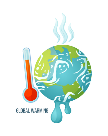 Global warming vector, dangerous process of melting, suffering planet with thermometer and red scale, vapours coming from earth surface, problems ecology. Concept for Earth day