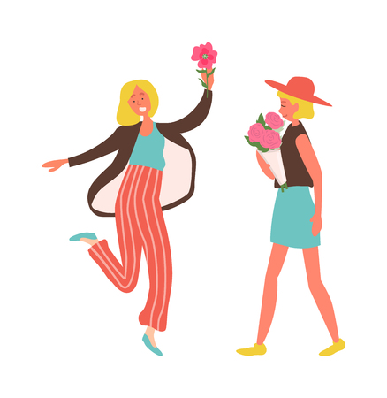 Holiday celebration vector, woman wearing stylish hat walking with roses bouquet gathered in wrapping. Female jumping of happiness isolated people 일러스트