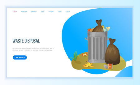 Waste disposal, tank of garbage, bin filled with waste bags, organic and metal objects, global problem of planet, pollution and recycling vector. Website or landing page flat style for Earth day3