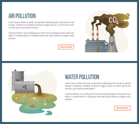water pollution and air gas emission vector environmental problems on planet, concerned about co2 from factories and liquid with harmful contain. Website landing page flat style. Concept for Earth day Иллюстрация