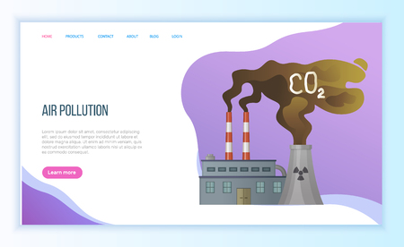 Air pollution by factory, discharge from plant, global or environmental problem, dirty or toxic smoke, contamination and disaster, steam vector. Website landing page flat style. Concept for Earth day Çizim