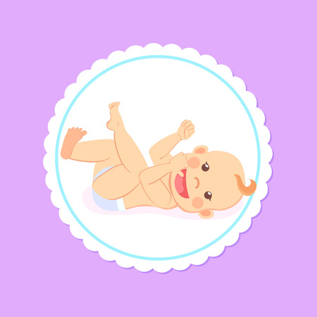 Baby in diaper with finger in mouth isolated cartoon character. Vector newborn milestones, infant lying on back, cartoon boy or girl toddler stares at face Archivio Fotografico - 123206360