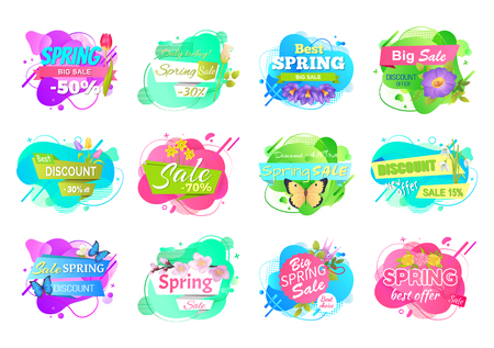 Spring sale labels set isolated price tags with info about discounts. Vector advertisement emblems, best offers with springtime flower bouquets 15, 30, 50, 70 off Archivio Fotografico - 121296024