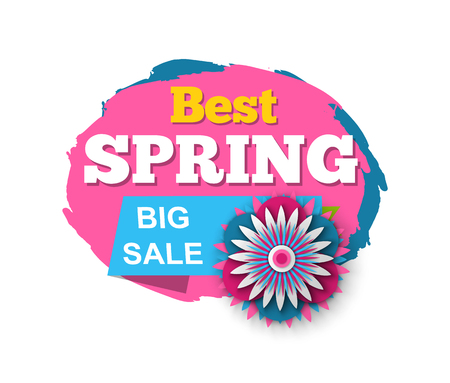 Best spring and big sale vector, isolated banner and promotion, reduction of price and promotion of business products, flowers in bloom, stripes with text