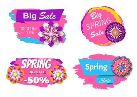 Big sale spring promotion vector, 50 percent off price commerce and business of stores and shops, flower decoration and stripes design isolated set