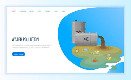 Water pollution, environmental problem with river or sea chemical waste from tube, plastic and organic objects trash from pipe, discarded vector. Webpage landing page flat style. Concept for Earth day