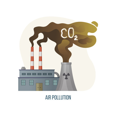 Air pollution vector, factory with CO2 gas emission industrial waste and polluted area, smoke from enterprises, building with hazardous works ecology. Concept for Earth day