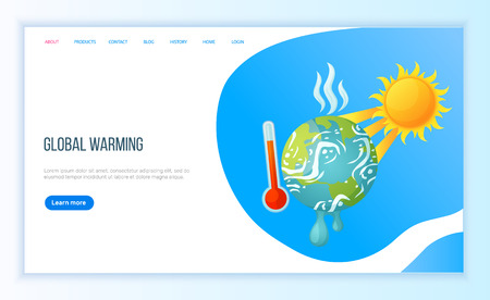 Global warming, ground heating, high degree outdoor, sun and hot weather. Environmental cataclysm, problem of sunlight and disaster, danger vector. Website or landing page flat style for Earth day