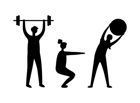 Man and woman pumping muscles, boy with dumbbell, girl doing exercise with ball and squatting. Black and white full length view of sporty people vector Illustration