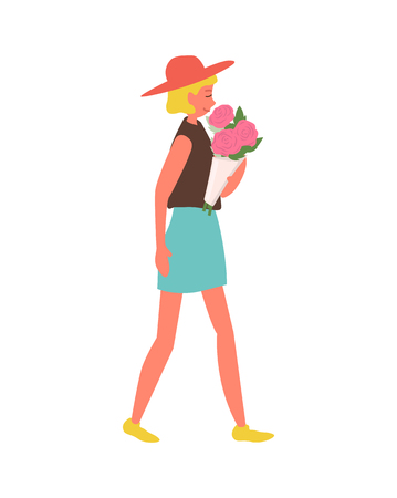 Pink roses given to woman vector, isolated girl wearing stylish clothes on international womens day. Female walking with flowers in paper wrapping