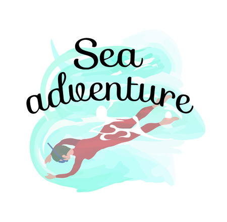 Sea adventure, man wearing swimsuit diving, human in mask swimming underwater isolated label. Vector person in sea, scuba activity or training in water Ilustrace