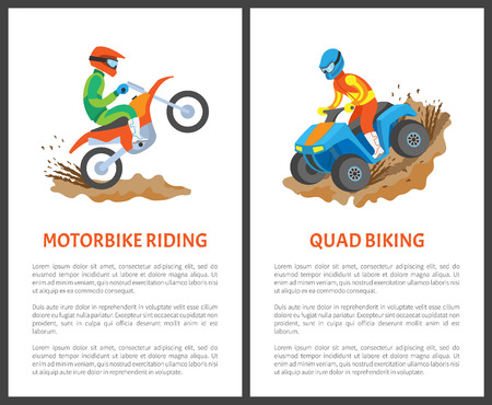 Motorbike riding and quad biking posters, man in helmet driving on motorcycle, extreme sport. Person on stuntbike, rally isolated on white vector
