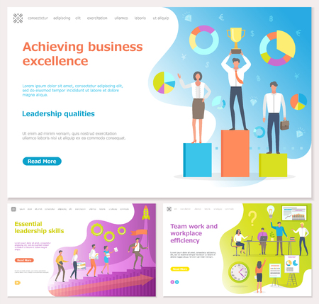 Teamwork efficiency and achieving business success vector. People with new startup, successful start of company, reward for champions at work. Website or webpage template, landing page flat style