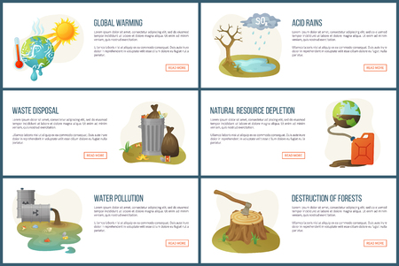 Global warming vector, environmental problems and issues, resource depletion, waste in cans, heat of sunshine and water pollution, deforestation. Website landing page flat style. Concept for Earth day
