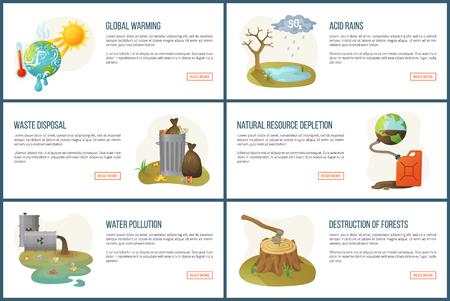Vector de calentamiento global, problemas y problemas ambientales, agotamiento de recursos, desechos en latas, calor del sol y contaminación del agua, deforestación. Estilo plano de la página de destino del sitio web. Concepto para el día de la tierra