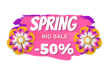 Spring sale vector, isolated banner with flowers and brush style design, flourishing plants and promotion of business, sales and propositions flat style