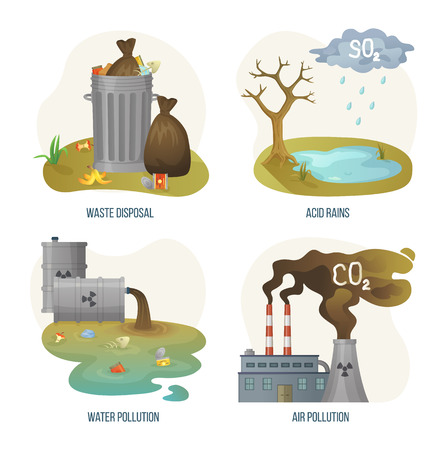 Environmental problems vector, set of issues on planet earth, waste disposal and acid rains, water pollution and air with smoke and smog from factories. Concept for Earth day