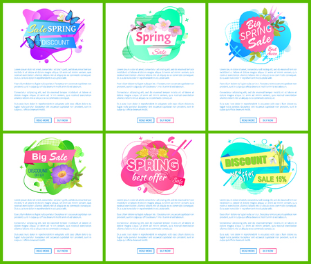 Spring best offer promo labels, vector floral springtime discounts, big sale fifteen percent off, shop clearance price tags vector poster. Website or webpage template, landing page flat style Illustration