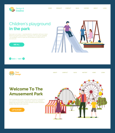 Children playground vector, father with kids, welcome to amusement park. Mother with daughter on swings, sand with shovel and bucket, Ferris wheel. Website or webpage template, landing page flat style Illustration