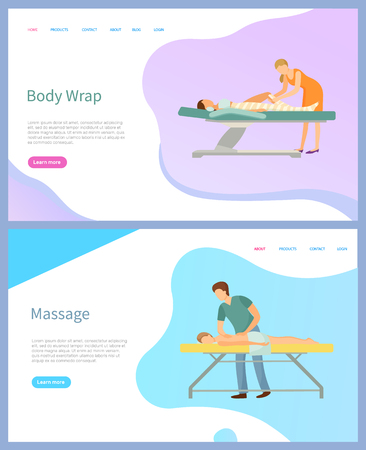 Beauty treatment services vector, body wrap and massage. Skincare and relaxation, salon professional masters and man or woman on procedure tables Illustration