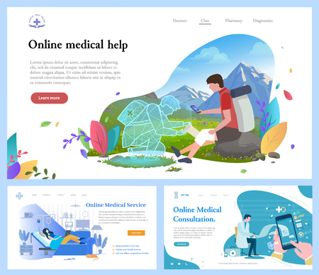 Online medical help vector, doctor giving consultation to patient and helping person to cope with injuries in journey. Woman with doc professional. Website or webpage template, landing page flat style Stock Vector - 123084537