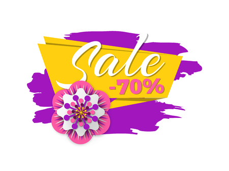 Sale seventy percent off vector, promotion and clearance from shop, flower made of paper, spring an d summer propositions stripes and brush style